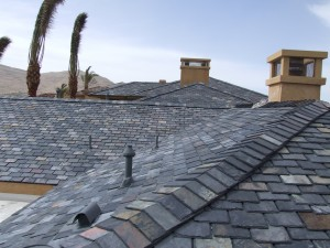 picture of a grey tile roof