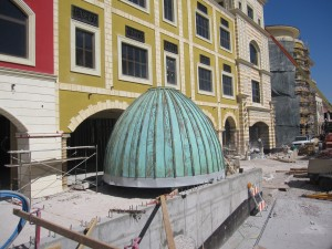 picture of a domes roof under construction