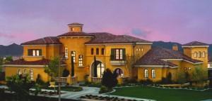 custom residential roofing on two story luxury home in Las Vegas