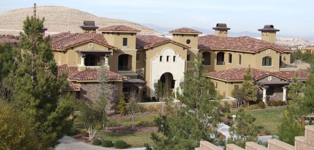 Tile roofing on luxury home in Las Vegas