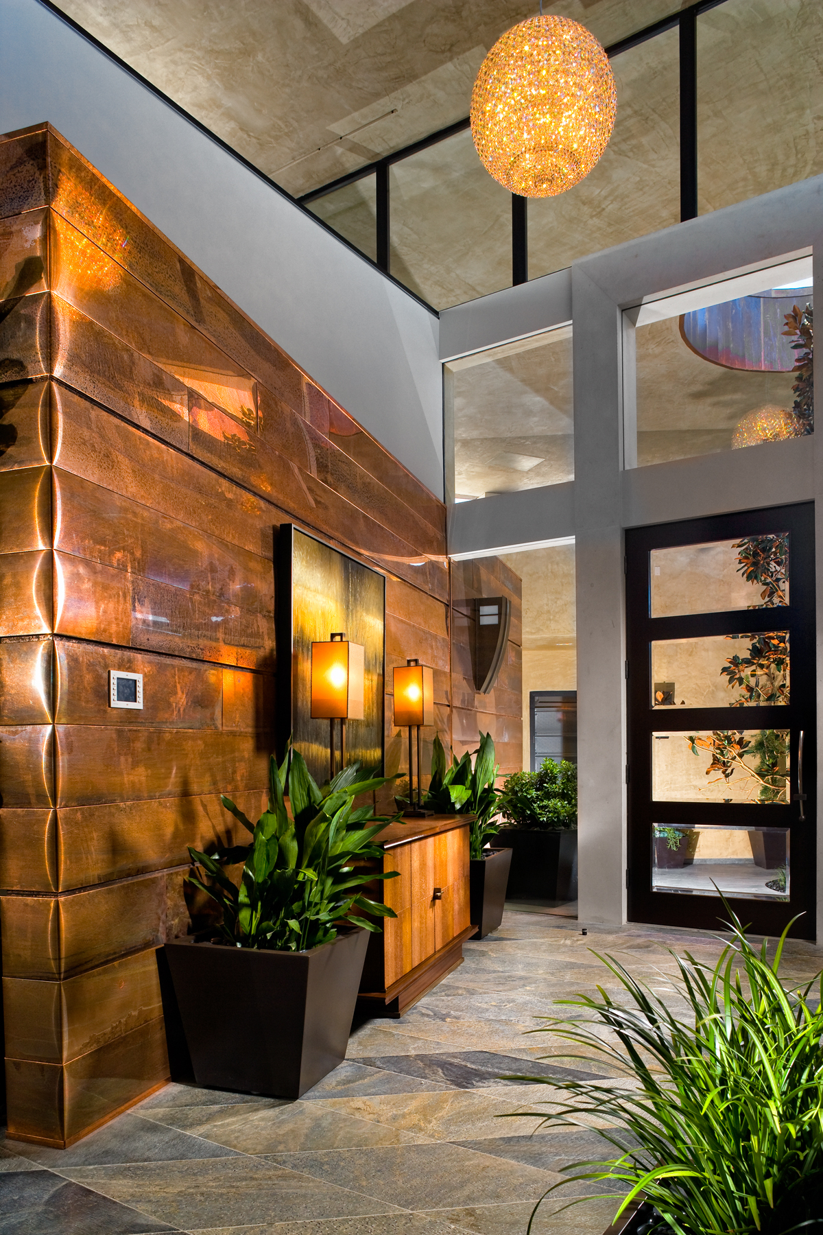 picture of a luxurious home entrance with custom fixtures