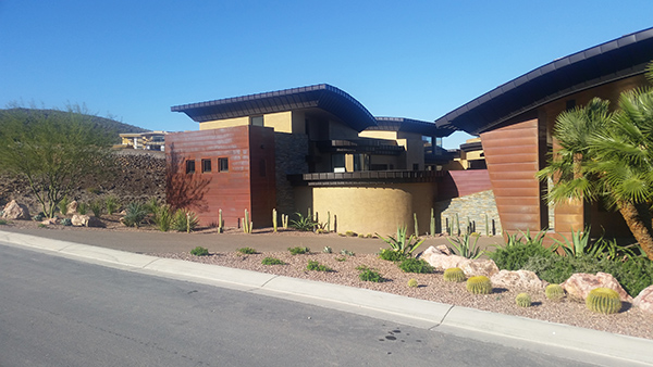 Front view homes in McDonald Highland Henderson with new copper roofing