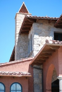 tile roof with decorative triangle features