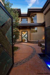 Lake Las Vegas home entry courtyard with copper roofing