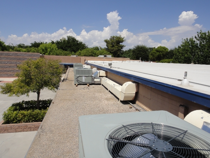 school rooftop with HVAc and other equipment