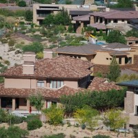 New tile roof on large suburban home in Henderson Nevada aerial shot