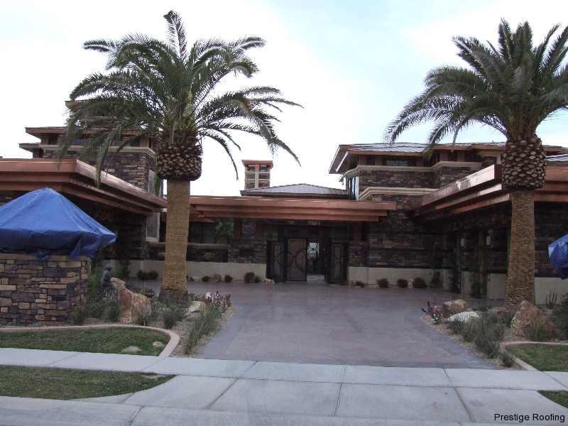 wind resistant copper roofing on a large luxury Las Vegas home