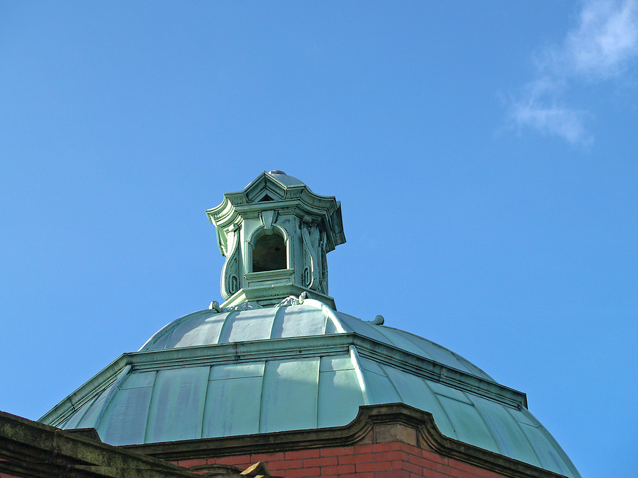 copper patina on cupola of old church