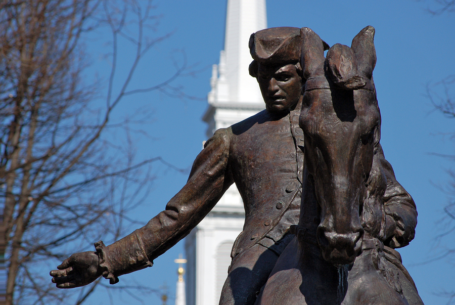 Paul Revere, revolutionary war hero and copper metallurgist statue at Old North Church in Boston