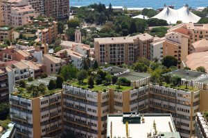 Monaco building examples of energy efficient green roofing with green gardens on the roof
