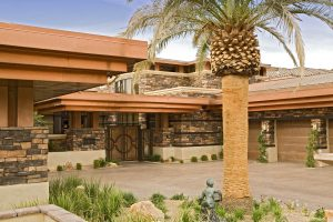 Custom copper roofing on a suburban Las Vegas home