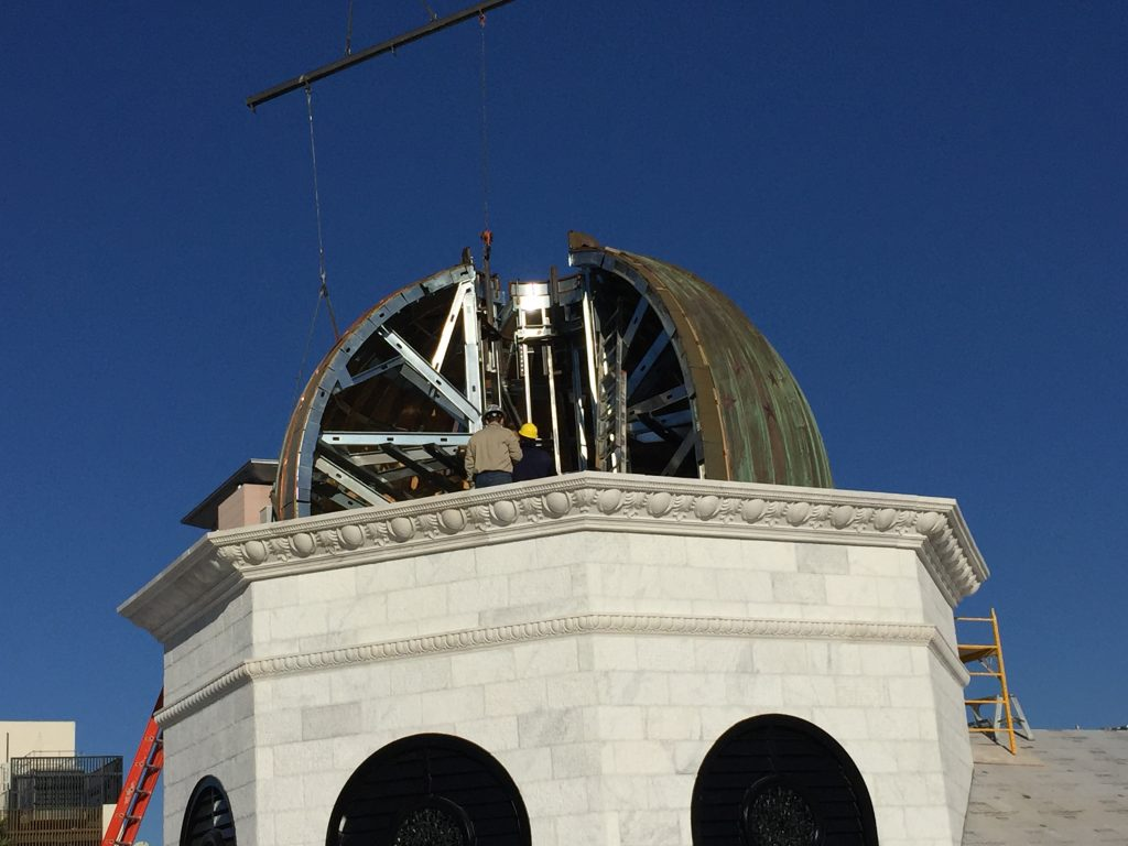 roofers installing copper dome cupola in Las Vegas