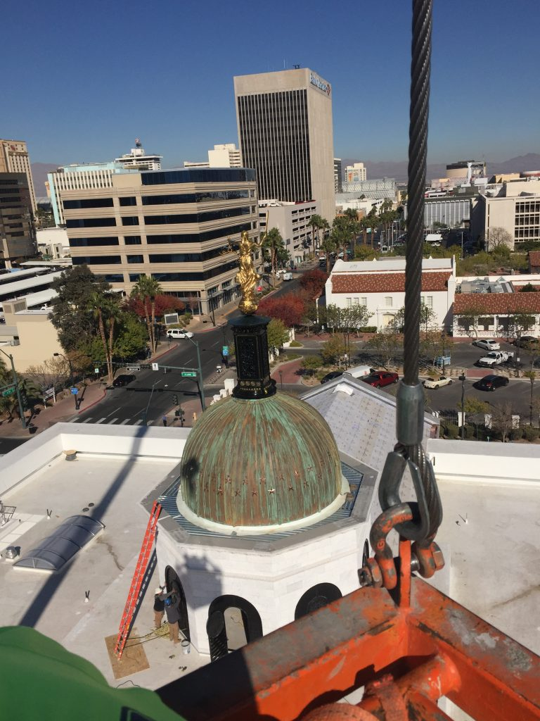 View from above copper cupola and spire newly added to the Nevadas Supreme Court building in Las Vegas