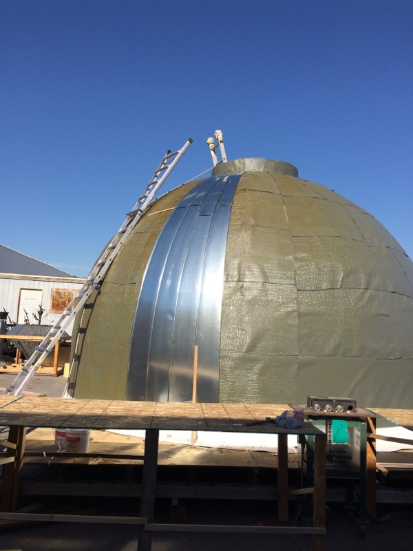 Copper dome for roof early construction stage - placement of copper strips