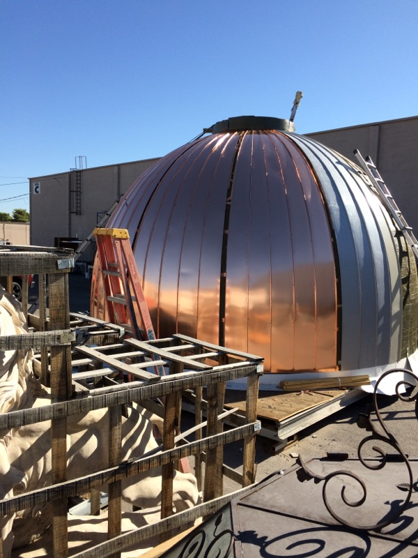 Copper dome cupola with copper panels mounted