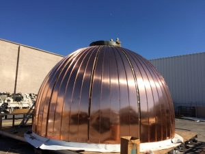 Copper Dome under construction with copper panels attached