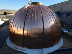 Copper dome preparing the bottom of the copper cupola