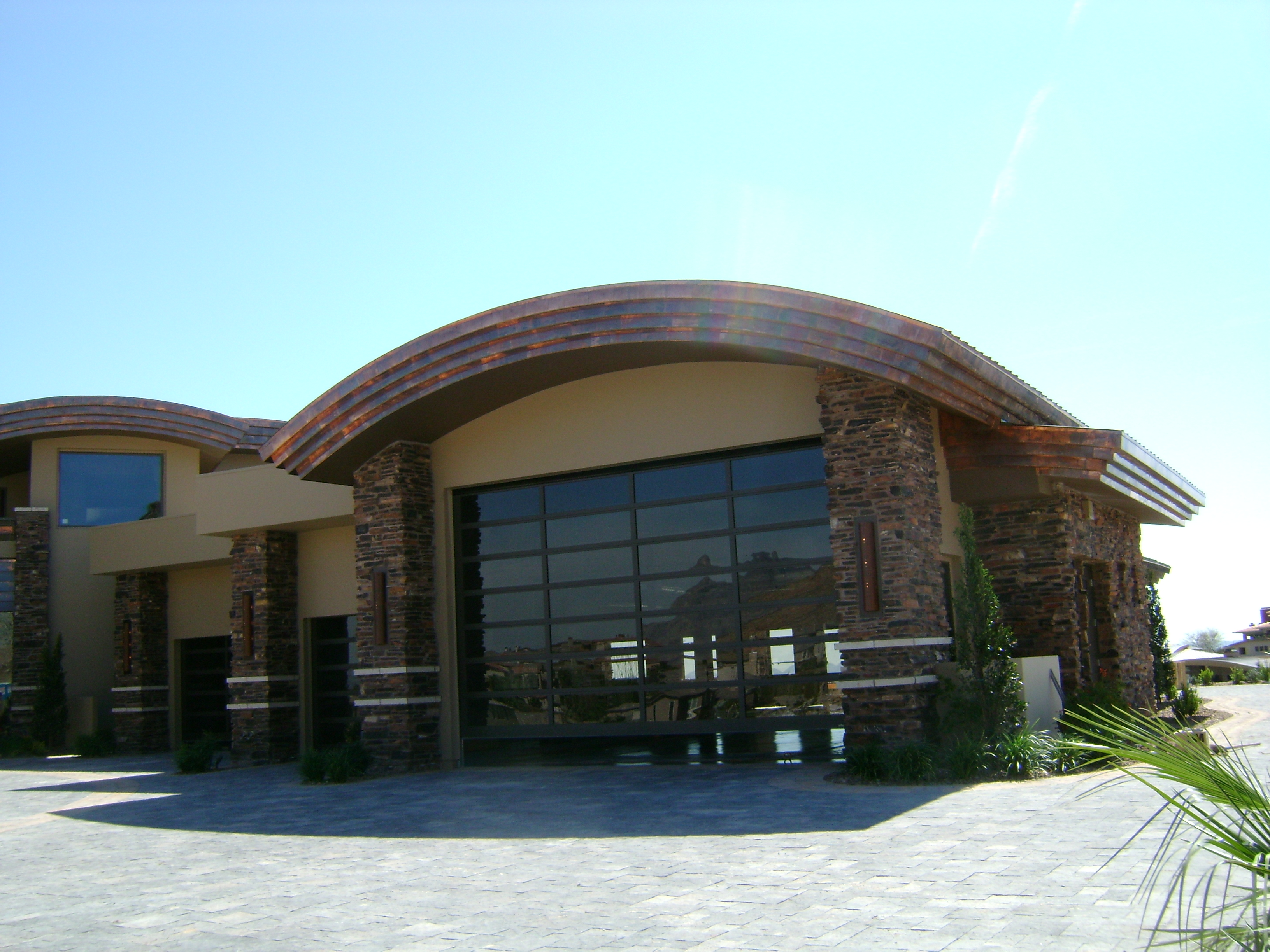 Customer curved copper roofing on Las Vegas building