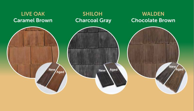CeDUR wood shakes three color choices graphic