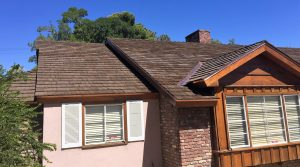 Roof of home with new CeDUR shake roofing showing how it looks just like wood roof