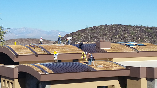 Energy efficiency through copper roofing on new home in Henderson, NV