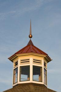 Peak of a gazebo with a copper spire