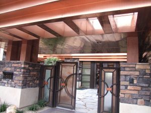 copper fixture decorative custom copper overhang on luxury home front entryway