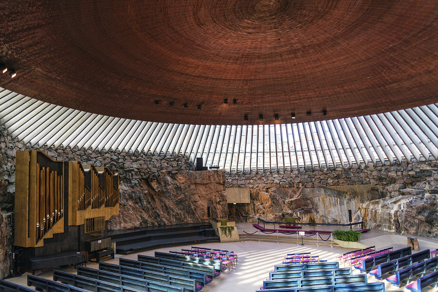 Temppeliaukio rock church famous modern architecture landmark interior in helsinki finland