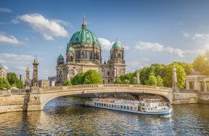 Historic Berlin Cathedral (Berliner Dom) with copper domes copper roof and copper statues