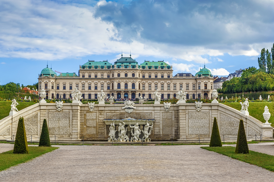 Upper Belvedere Palace beautiful baroque palace with copper roofing Vienna Austria