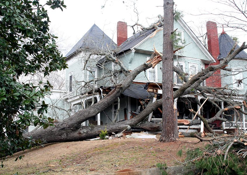 A home showing roof damage from a fallen tree after a hurricane