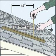 drawing of measuring roof pitch with a ruler and a level on a house rooftop
