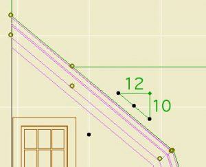 graphic representation of roof pitch measuring 10:12 pencil drawing