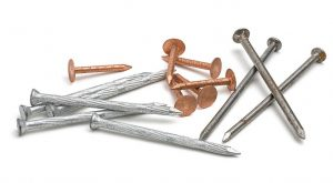 selection of roofer nails for installation or repair including copper and steel nails
