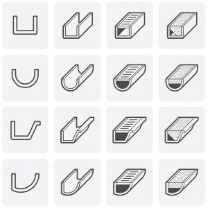 icon images of different rain gutter types available including round and k-style
