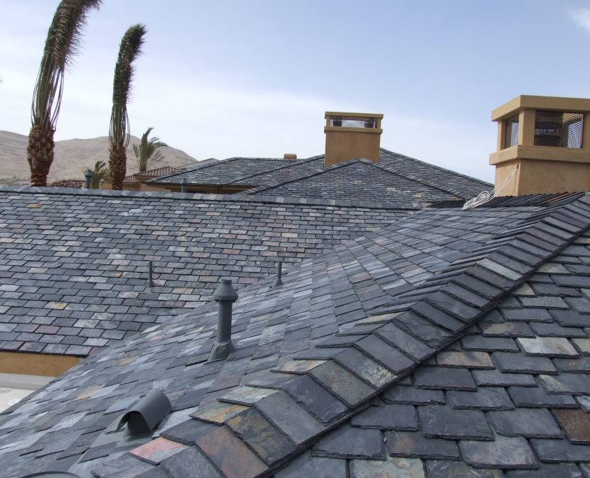 New gray slate roof in Las Vegas view from atop roof installed by Prestige Roofing