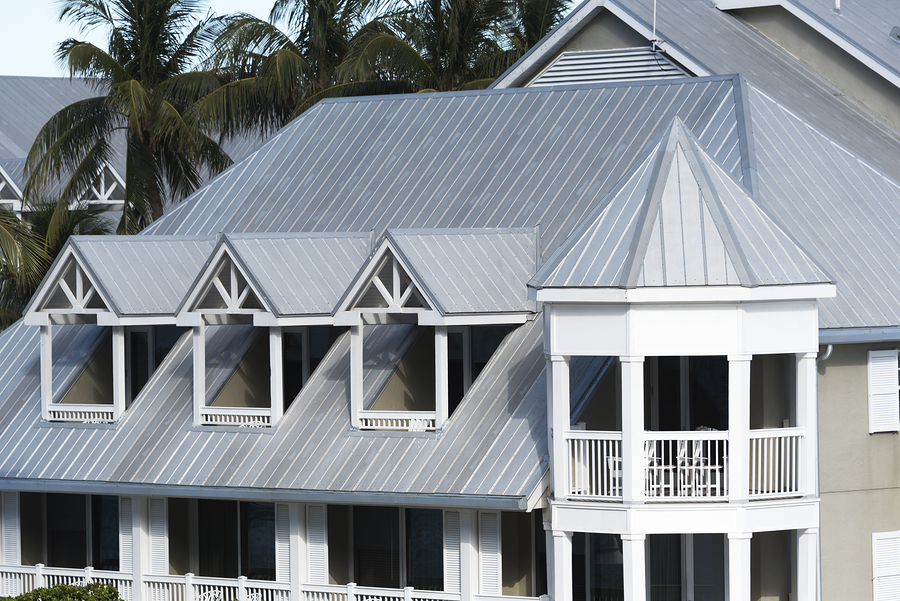 Zinc roofing on modern apartment condo building for hurricane protection