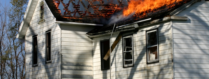 House roof on fire because the roof was not made of fire resistant roofing materials