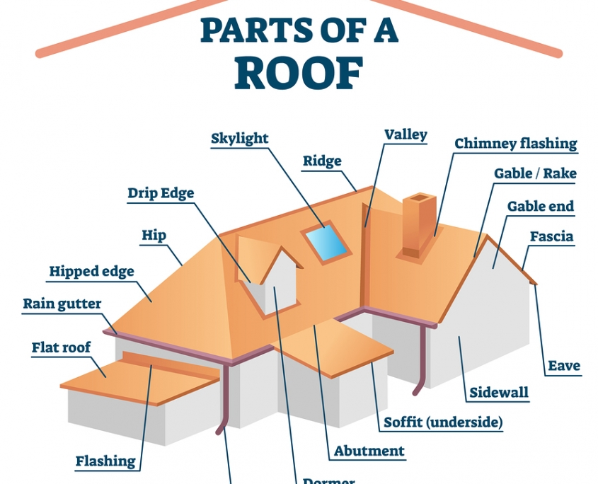 A grgraphic illustration of residential roof parts with labels